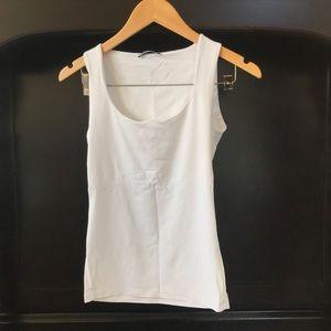 ZARA White Basic Nylon Tank-top with bra layer